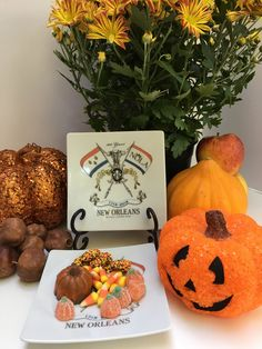 This fall I'm celebrating Fall and Halloween with the small plates that commemorate 300 years of history in New Orleans. Halloween Gifts, Halloween Decorations, Plate Design, Small Plates, Safe Food, Customized Gifts, New Orleans, Fall Decor, Cities