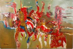 """Large oil on canvas by Musaa Baydi """"La Danse du Feu"""" depicting a very colored abstract composition. Musaa Baydi is a senegalese painter renowned for participating in numerous national exhibitions. Signed and dated 1994. #Art #MusaaBaydi #LaDanseDuFeu #Colored #Abstract #Painting #African #Senegal #1994 #BellamysWorld"""