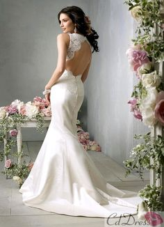 Mermaid V-Neck Satin and Lace Wedding Dress - Lace Wedding Dresses - Wedding Dresses - CDdress.com