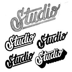 """""""Studio"""". One sketch, four treatments. ✍ #type #typo #typography #typographie #lettering #handlettering #logo #studio #artoftype #bftype #customlettering #customtype #dailytype #designspiration #goodtype #handmadefont #lettering #ligaturecollective #tyxca #typism #typespire #typematters #typegang #typedaily #typographyinspired #thedailytype #thedesigntip #50words #posca #tarwane"""