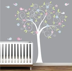 Tree wall decal w/ birds