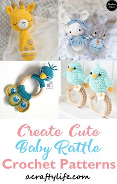9 Adorable Crochet Baby Rattle Patterns- Cute Gifts - A Crafty Life Bobble Stitch Crochet, Crochet Lion, Crochet Baby Toys, Crochet Patterns Amigurumi, Cute Crochet, Crochet For Kids, Baby Shower Souvenirs, Cute Baby Gifts, Baby Rattle