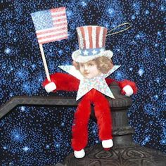 Make this stars-and-stripes patriotic chenille doll as a lapel pin, ornament, or decoration. Here are easy, free instructions and vintage images for download.