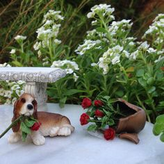 Miniature Dollhouse Fairy Garden Bassett Hound Dog w Broken Pot of Flowers