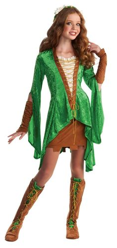 Maid Marion Nymph Sprite Wood Fairy Renaissance Teen Costume