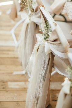 Blush Chair Ribbons and Baby's Breath