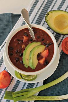 Simple Black Bean Soup - quick and easy and on the table in less than 30 minutes! Only SIX ingredients needed to make this delicious dairy free, oil free and vegan soup! Pass me a spoon! Easy Soup Recipes, Vegan Recipes, Cooking Recipes, Free Recipes, Meatless Recipes, Diabetic Recipes, Delicious Recipes, Chicken Recipes, Dinner Recipes