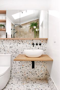 My bathroom renovation - it's all about terrazzo and Moroccan tiles - We Are Scout Diy Bathroom Remodel, Bathroom Renos, Laundry In Bathroom, Bathroom Renovations, Bathroom Ideas, Bathroom Designs, Tiled Bathrooms, Bathroom Showers, Master Bathrooms