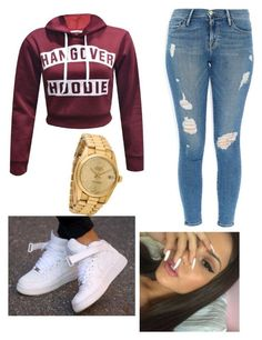 """""""'Air Force01✨"""" by zoeexx33 ❤ liked on Polyvore featuring Frame Denim, NIKE and Rolex"""
