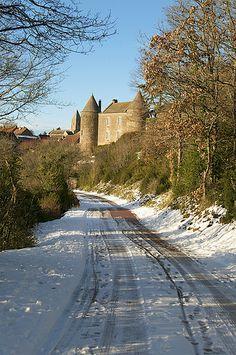 road leading into Brancion, Burgundy, France