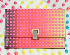 Proenza Schouler - Studded dégradé leather clutch with neon pink studs Studded Clutch, Studded Leather, Leather Clutch, Pink Leather, My Bags, Purses And Bags, Candy Buttons, Clutch Purse, Neon Clutch