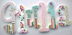 Nursery Letters Wooden Letters Playroom Letters by PoshDots Wooden Wall Letters, Nursery Letters, Painted Letters, Letter Wall, Wooden Walls, Decorated Letters, Painted Initials, Hand Painted, Decoupage