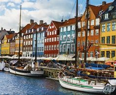 Copenhagen colourful vivid photographic city wall mural M9107