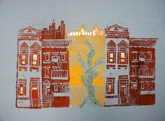 printmaking lesson make a whole city with a class-NYC