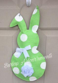 Easter bunny burlap door hanger by BurlapAdoornments on Etsy