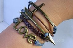 Cupid Arrow bracelet  bronze love Cupid Arrow cross gray by Jiadan, $10.29