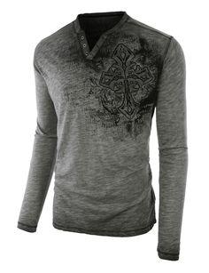 LE3NO Mens Vintage Burnout Long Sleeve Notch Neck T Shirt