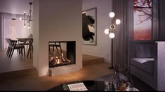 Ideal as a room divider The Maestro 75 Tunnel Eco Wave is a sp. Home Fireplace, Modern Fireplace, Living Room With Fireplace, Fireplace Design, Living Room Kitchen, Home Living Room, Dining Room, Room Interior, Interior Design Living Room