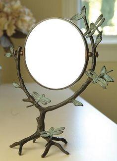 Dragonfly on Branch Mirror - Makeup Mirror - Magnifying Mirror - Tabletop Mirror | HomeDecorators.com