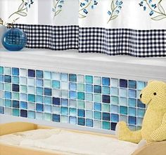 Beaustile Mosaic 3D Wall Sticker Home Decor N-Blue Fire Retardant Backsplash Wallpaper Bathroom Kitchen DIY Plain Design