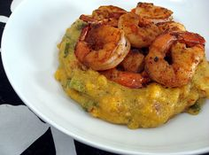 ... cumin and chili shrimp with roasted corn and poblano polenta recipe
