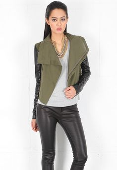 Veda Max Army Jacket in Army/Black - designed by VEDA