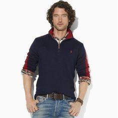 8dff44fe635e Maglietta Polo Ralph Lauren Uomo Maglione With Half Zipper Blu Reale Dark  Rosso