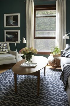 Dark Teal Living Room with Black & White Accents