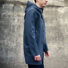 """""""The jackets from Swedish label #Stutterheim are perfect for the wet winter weather. Made from rubberised cotton with double welded seams, they are…"""""""