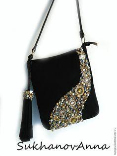 """Купить Сумка """"Ночное небо"""" - черный, сумка замшевая, Сумка с вышивкой, вышивка на сумке"""