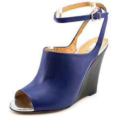 Schutz Clauvania Women Wedge Shoes ($65) ❤ liked on Polyvore featuring women's fashion, shoes, blue, blue wedge shoes, schutz shoes, wedges shoes, leather footwear and schutz