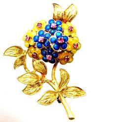 18K Gold Brooch Art Deco Ruby Flower Antique Enamel Pin