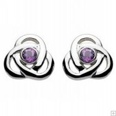 Silver Celtic Amethyst Trinity Knot Stud Earrings