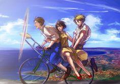 Eren, Mikasa and Armin Armin, Eren X Mikasa, Fanarts Anime, Anime Manga, Anime Guys, Anime Art, Koi, Attack On Titan Aesthetic, Anime Reccomendations