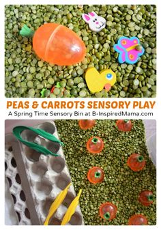 Cute Peas and Carrots Sensory Play - Perfect for Spring or Easter - at B-Inspired Mama