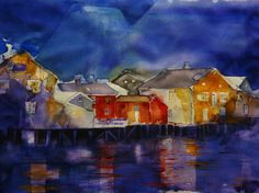 Houses by the river Watercolour, My Arts, Houses, River, Painting, Pen And Wash, Homes, Watercolor Painting, Watercolor