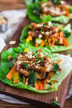 Healthy Thai Chicken Lettuce Wraps- these are easy to put together and make for a perfectly healthy (and delicious) lunch or dinner!