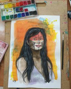 "58 Me gusta, 1 comentarios - Grillo Benitez Balcinha  (@grillote69) en Instagram: ""#watercolorpainting #watercolor #acuarelas #paraguay #nativa #mujernativa #guaraní #arte #art"""