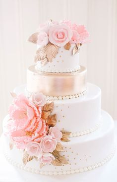 Pink, white and gold wedding cake: http://www.stylemepretty.com/2015/08/04/romantic-equestrian-inspired-wedding-in-new-jersey/ | Photography: Kay English - http://www.kayenglishphotography.com/