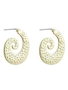 Gold Dotted Swirls Earrings from Helen's Jewels