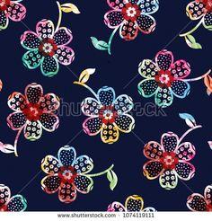 Seamless Digital Floral Pattern On Navy Stock Illustration 1074119111 Paisley Doodle, Abstract Flowers, Watercolor Flowers, Flower Wall, Flower Prints, Cute Galaxy Wallpaper, Flower Pattern Design, Batik Pattern, Feather Art