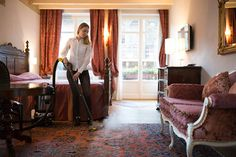 Thermally sanitise and deep clean carpeted flooring in hotel rooms with steam vac machine. #carpet #cleaning #steaming #hotel #room #accommodation