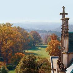 Panoramic fall views from the roof of Biltmore House in Asheville, NC.