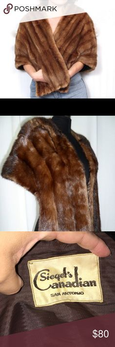 Vintage Mink stole fur cape shrug M/L Elegant, Timeless, Vintage mink stole. This fur is the most gorgeous red color!! It can be worn several ways. There are pockets, hook in the middle, and inside are straps for your arms. In excellent condition!! Fits a Medium and large. Siegel Canadian fur Jackets & Coats Capes