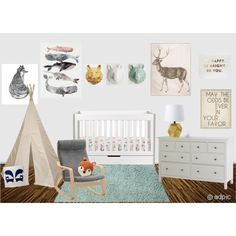 Gender Neutral Nursery mint white gold grey modern baby room with animals