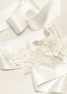Satin 3D Floral Ribbon Sash Style S1077