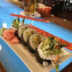 Vegetable sushi at Sake Restaurant on Garrison Avenue in Fort Smith, Arkansas.  Cucumbers, avocado, asparagus, and bean sprouts. Yummy!