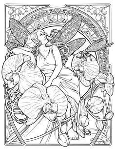 50 trippy coloring pages - Art Nouveau Unicorn Coloring Pages