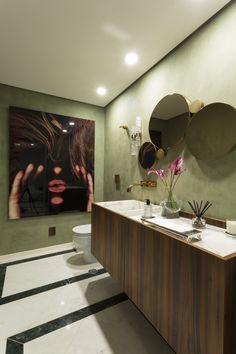 RESIDÊNCIA AK | AK HOUSE |  piso de mármore | lavabo | cuba de madeira | cuba de mármore | espelho |  iluminação de led | marble floor |toilet  | wood furniture |marble sink |  mirror | brazilian art |