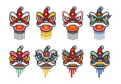 chinese-new-year-lion-dance-head-minimalist-flat-vector-icon-set.jpg (1400×980)